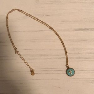 "18"" adjustable gold necklace w/ turquoise pendant"